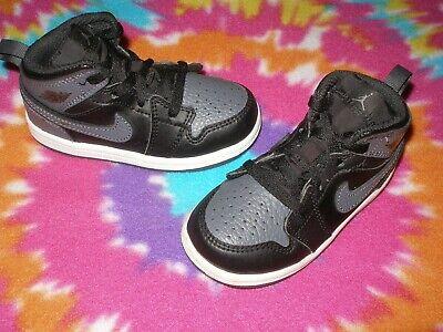 Kids 7C Toddler NIKE-AIR-JORDAN-1 640735-041 BLACK-GREY BASKETBALL SHOES WORN 1X