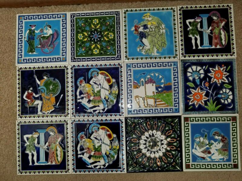 "12 Vintage 6x6"" Ceramic Tiles; Handmade in Greece, by SMALTOTECHNIKI; Excellent."