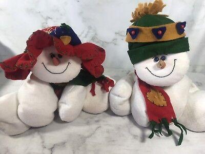 Vtg Snowman Figurine Set Large Man Woman Sitting Bean Filled Plush (Sitting Snowman Figurines)