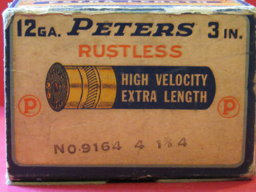 "Vintage Peters Rustless High Velocity Extra Length 12ga 3"" Magnum Empty Box LOOK"