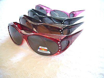 WOMEN'S POLARIZED SUNGLASSES W/ RHINESTONES 5029 (FIT-OVER READERS ) ANTI-GLARE (Polarized Reader Sunglasses)