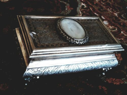 RARE ANTIQUE PORTUGUESE SILVER JEWELRY BOX