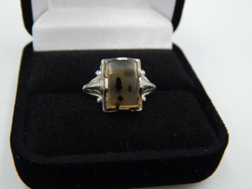 Antique Art Deco Sterling Moss Agate Ostby Barton OB Signed Ring Size 7.5
