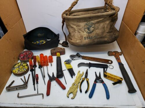 Lot Klein Canvas Tool bag W/Klein electrician tools Pliers, Screwdrivers, Hammer