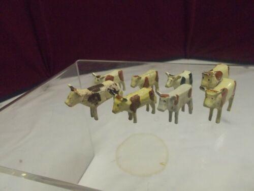 🎅  Eight (8) Vintage Erzgebirge COWS - Figures - Putz Animals 🎄