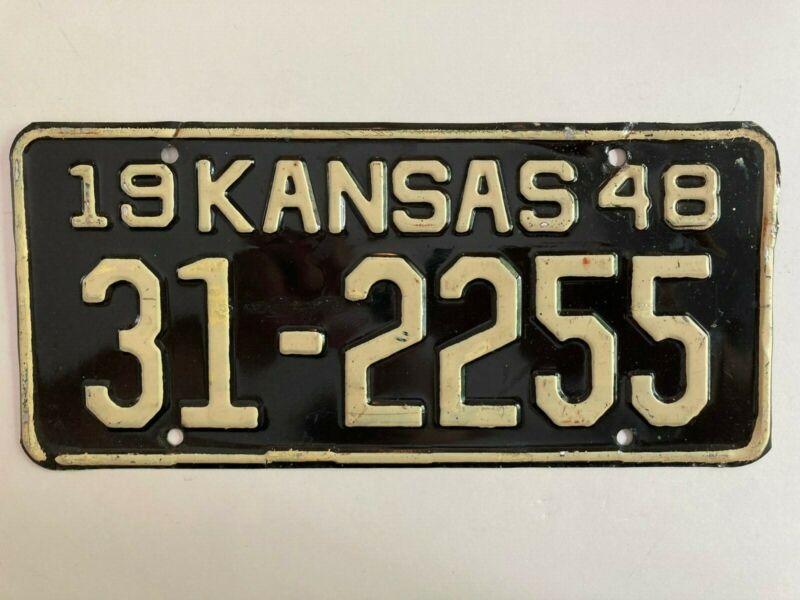 1948 Kansas License Plate All Original