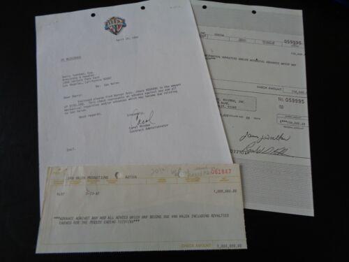 VAN HALEN 1981 $1,000,000 ROYALTIES CHECK RECEIPT AND WARNER BROS PAPERWORK