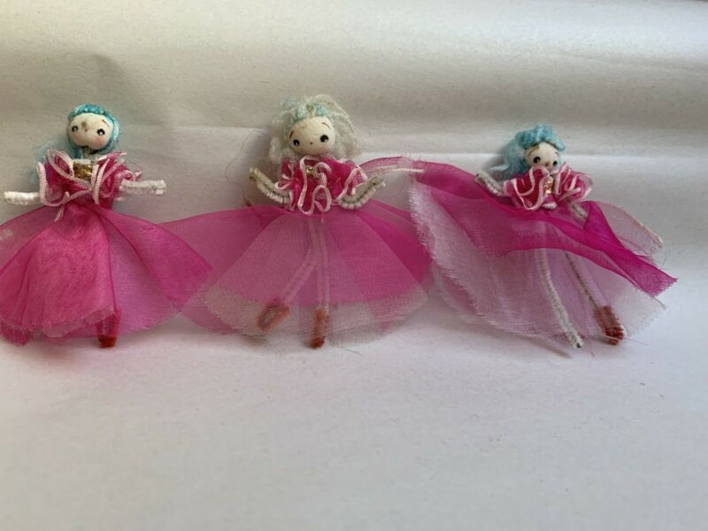 3 Vintage PINK Christmas Spun Cotton Tulle Ballerina Decoration Figures #D