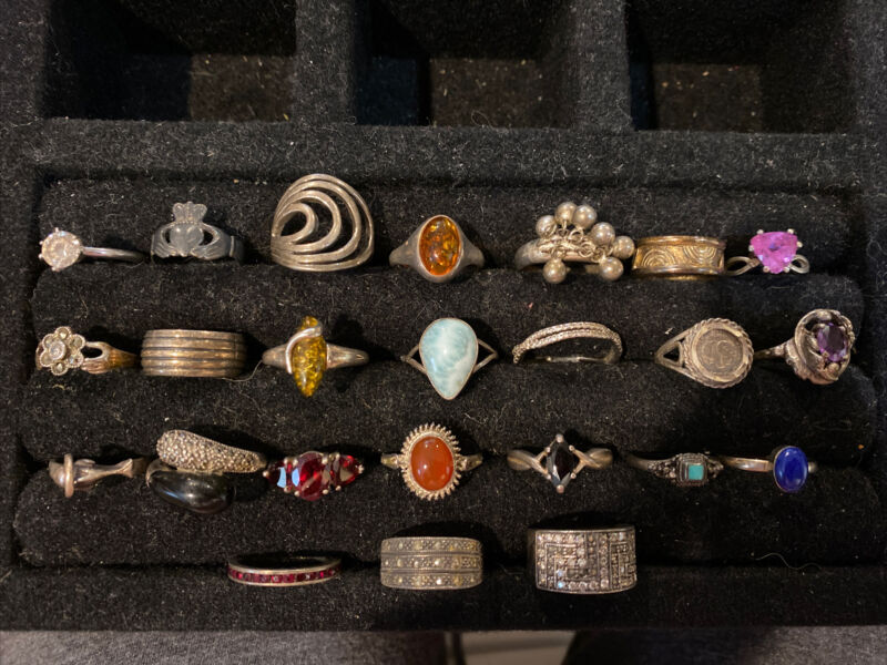 Vintage Sterling Silver LOT OF 24 Rings