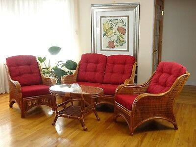 Jam Rattan Living Set 2 Chairs Loveseat Coffee Table Colonial with Red Cushion