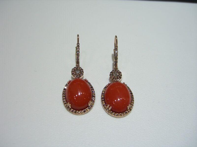 Vintage Designer 14 Karat Rose Gold Champagne Diamond Blood Orange Coral Earring