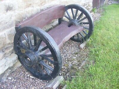 Vintage Cart Wheel Oak Bench