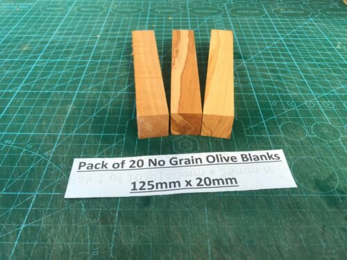 +Pak+of+20+Italian+Olivewood+Blanks+with+Little+or+No+Grain+125mm+x+20mm