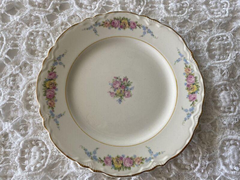 5 Vintage W.S. George Radisson Floral Gold Rim Salad Plates COTTAGE CORE