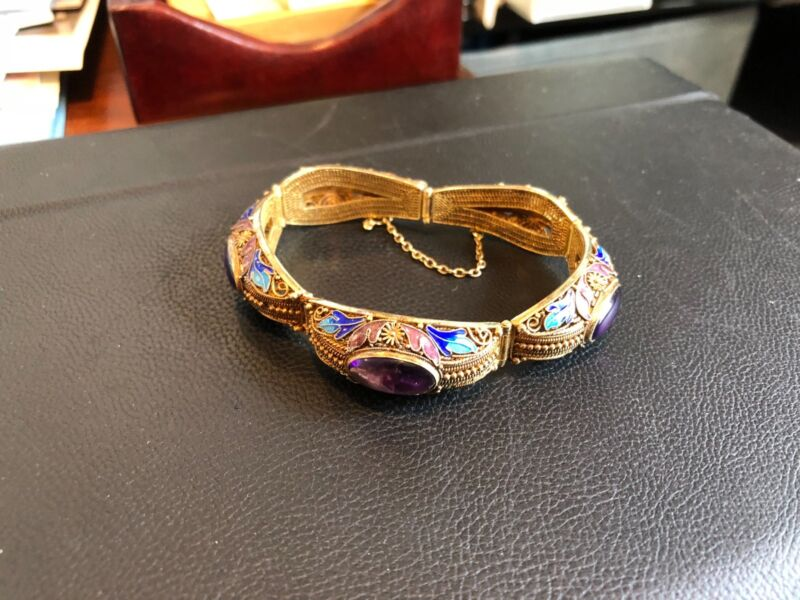 Beautiful Chinese Silver and Enamel Bracelet with Amethyst