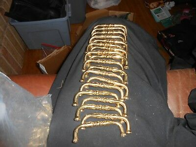 """Lot of 30 Cabinet Hardware Drawer Pulls Handles Brass Color 3"""" centers"""