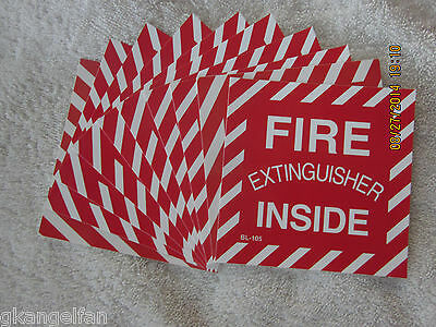 Lot Of 10 Fire Extinguisher Inside Self-adhesive Vinyl Signs...4 X 4 New