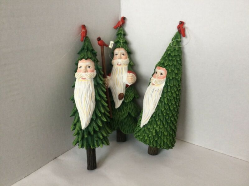 Dept 56 Santa Face with Cardinals Christmas Tree Ornaments Lot of 3
