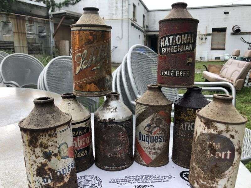 Old DRINK RICHBRAU Schlitz National Bohemian CONE TOP CROWNTAINER BEER CAN Lot
