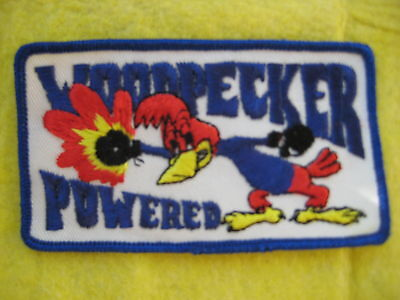 """Vintage Woodpecker Powered  Patch 4 1/2"""" X  2 1/2"""""""