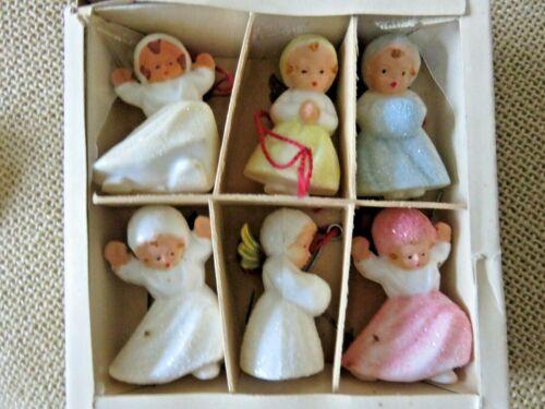 VTG Set of 8 Hard Plastic Snow Baby Angels Xmas Ornaments Mica Glitter Germany
