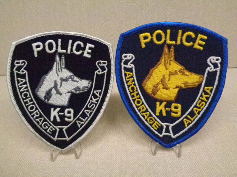ANCHORAGE, ALASKA, POLICE DEPT K-9 UNIT PATCHES, PAIR, COLOR/SUBDUED, OBSOLETE