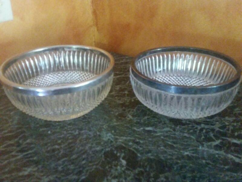 Set of 2 Stunning Antique Sterling Silver Rimmed Starburst Heavy Glass Bowls