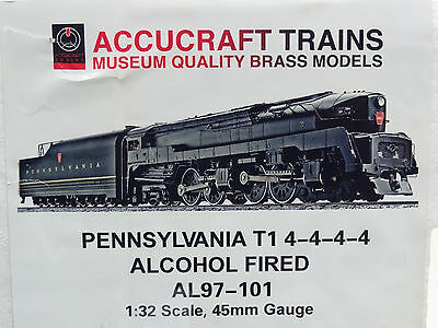 Accucraft One Gauge Pennsylvania T1 4-4-4-4 Live Steam Engine NEW AL97-101