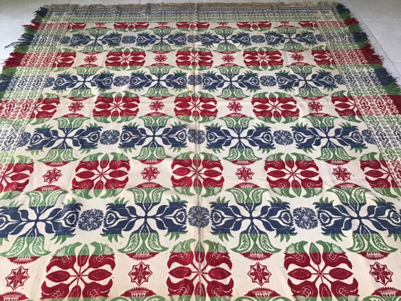 AMAZING ANTIQUE 4 COLOR JACQUARD COVERLET w RED BLUE GREEN FLOWERS TULIPS