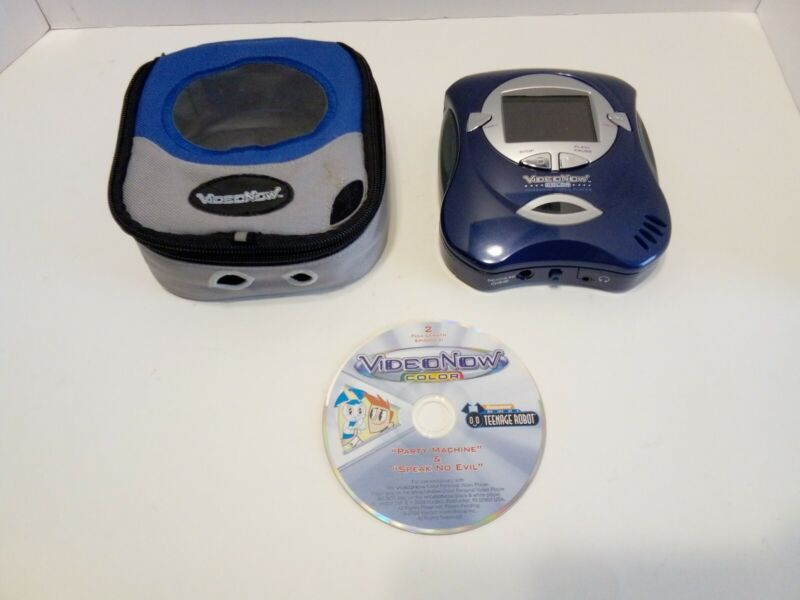 Blue Video Now Color Personal Video Disc Player with Video Disc and Case Tested