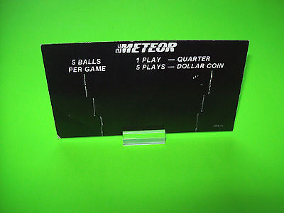 Stern Meteor 1979 Original Pinball Machine Price Card 2-Sided 1-Play Quarter