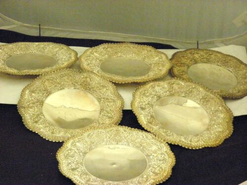 """Set of 6 Sterling Silver Footed Detailed Bread Plates 7.10""""inch Diameter."""