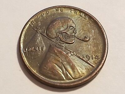 1914 US Cent - Hobo Skull - Novelty Coin ** $5 00 SALE **