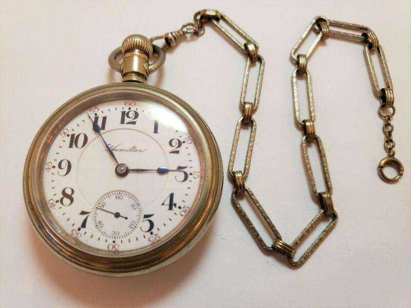 Antique 1910 HAMILTON 21J Railroad Grade 940 Gents RR Pocket Watch 18s w/ Chain