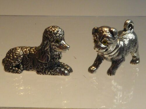 PAIR SOLID SILVER MINIATURE DOGS