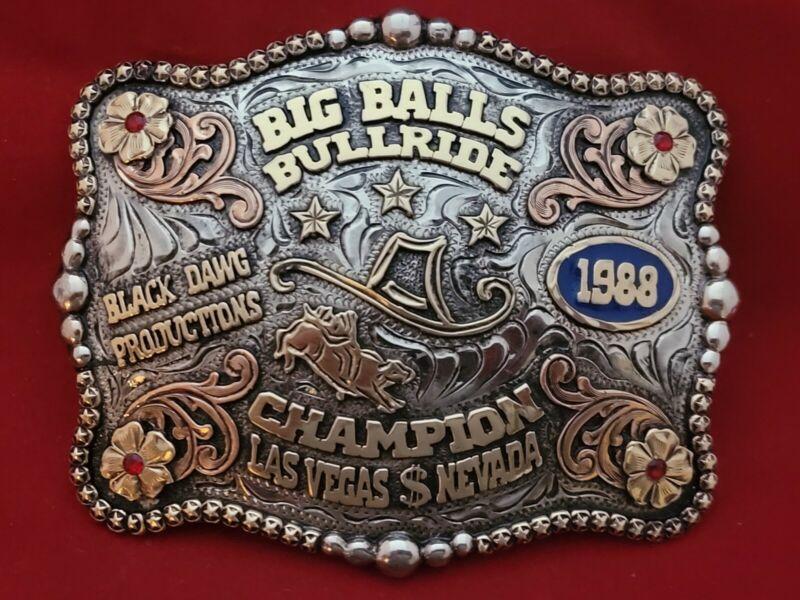 TROPHY RODEO CHAMPION BELT BUCKLE☆1988☆LAS VEGAS NEVADA BIG BALLS BULL RIDER 348