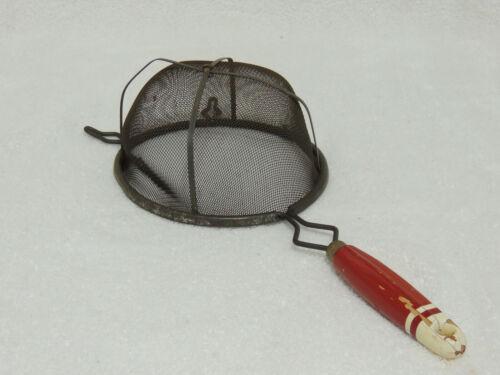 """Vintage Large 14.5"""" Wire Mesh Strainer Handheld Metal & Wood Handle"""