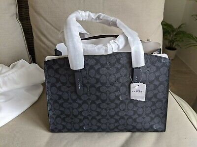 Coach Charlie Carryall Shoulder Bag Charcoal Midnight/ Navy