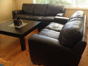 Well Maintained Camden 3+2 Genuine Leather Sofa *Color: Chocolate Hornsby Hornsby Area Preview