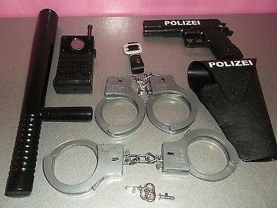 Polizei Mega Set 6-teilig ! Pistole, Halfter , Handschellen ,Schlagstock  SWAT!