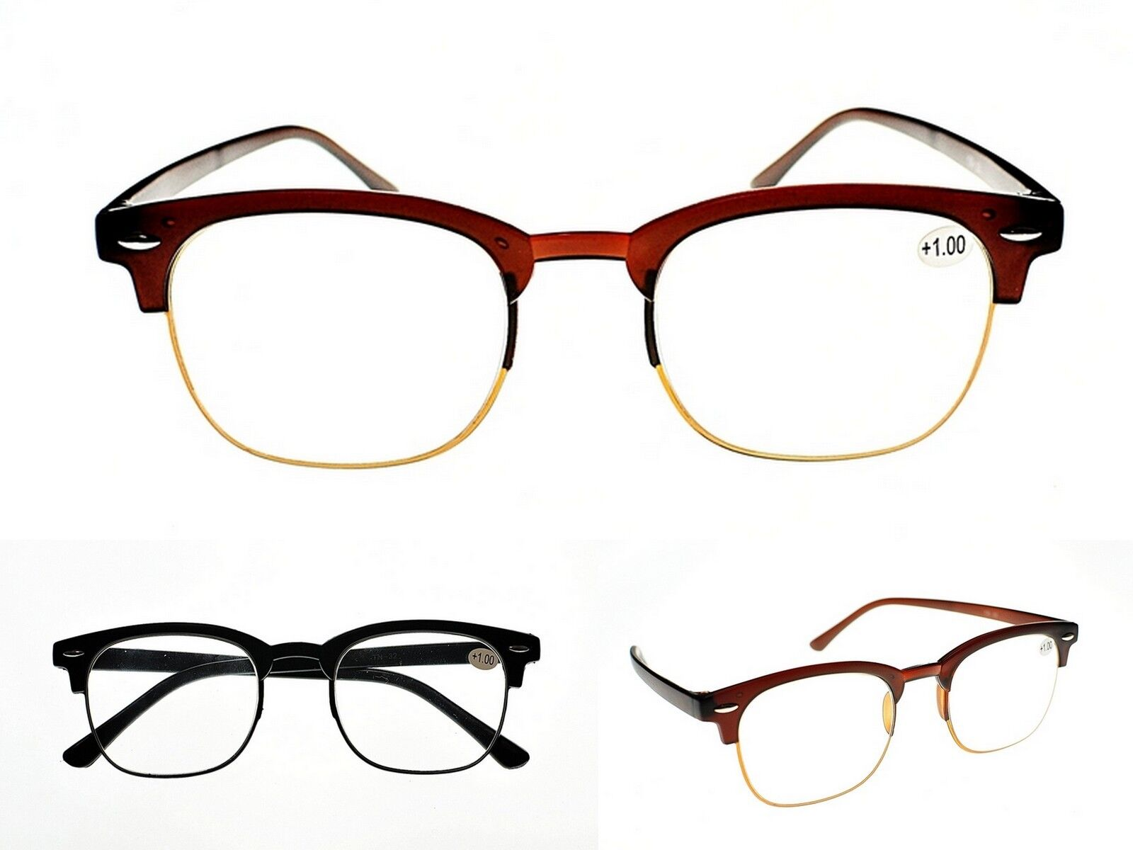 9f35a0fe0f43c Details about Bendable Clubmaster TR90 Fashion Unisex Flexible Reading  Glasses 2 Colours TN32