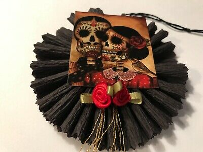 Halloween sugar skull rosette ornaments, Or vintage image gift tags, item# 30 - Skull Ornaments