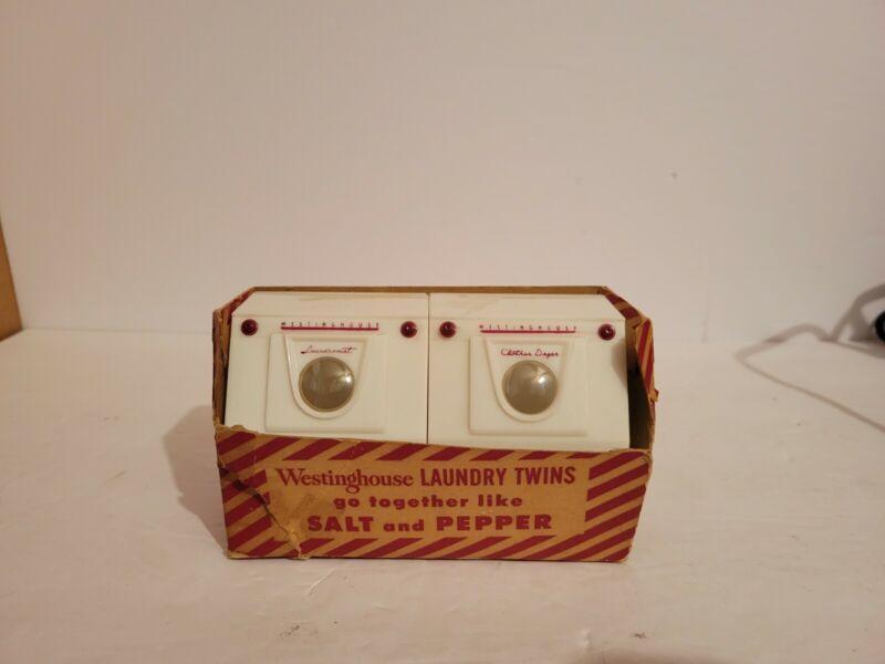 Vintage Hard Plastic Westinghouse Laundry Twins Advertising Salt Pepper Shaker S