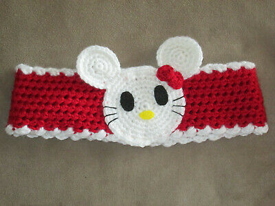 Hello kitty & Disney inspired minnie mouse ears crochet headband ear warmer - Hello Kitty Headband Ears