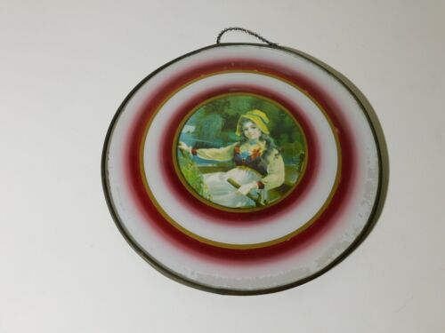 """ANTIQUE 9 1/4"""" ROUND FLUE COVER YOUNG MAIDEN WITH SOME DAMAGE"""