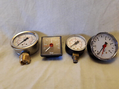 PRESSURE GAUGES – FOUR FOR SALE – RANGES 0-10B / 0-4B / 0-4B/ 0-6B