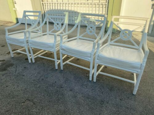 SET OF 4 MCGUIRE STYLE TARGET BACK HOST ARM CHAIRS & TABLE