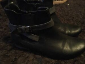 Black and grey faux leather boots
