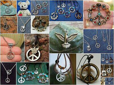PEACE, Frieden, Peacezeichen, Anhänger Kette, Hippie, Pax, Friedenstaube, dove