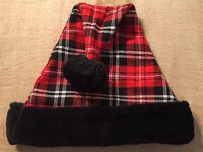 Black And White Santa Hat (Santa Hat Red Black & White Tartan Plaid Design w/ Black Trim Adult Size - NEW)
